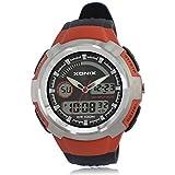 Men's multi-function sports digital watch, Outdoor climb led 100 m waterproof swim resin dual time dual display stopwatch fashion wristwatch-A