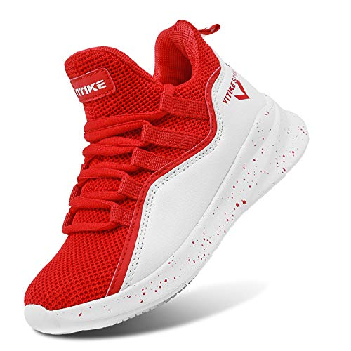 WETIKE Girls Basketball Shoes Comfortable Kids Basketball Sneakers Youth Mid-top Slip-on Boys Running Shoes Lightweight Big Little Kids Shoes Size 1 Red