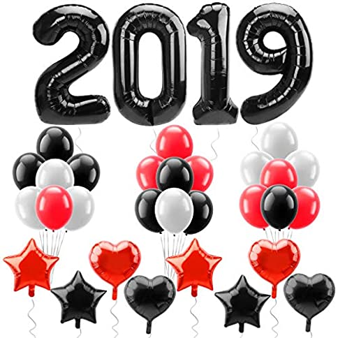 - 51wijxWnP2L - Black 2019 Balloons – Large 40Inch – Graduations Decorations Balloon – Red & Black Star Mylar foil Latex Balloon – Great for Back to School, Grad Party Backdrop