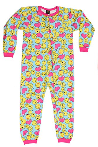 Just Love Printed Flannel Blanket Sleepers, Heart Emoji, Girls' 10-12