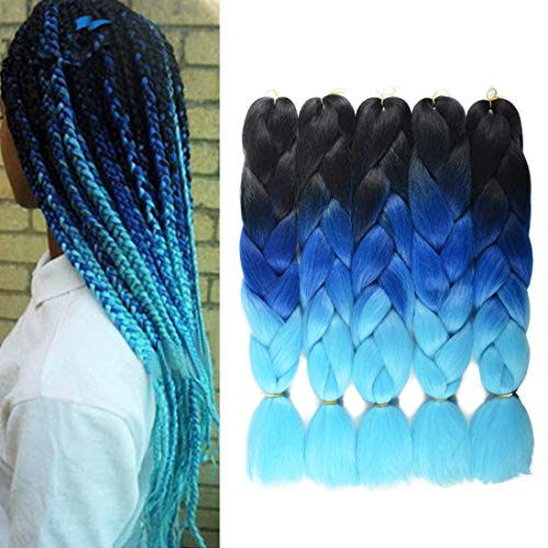 Ombre Jumbo Braiding Hair Kanekalon Hair for Braiding Black to Royal Blue to Sky Blue 24 Inch 5 -