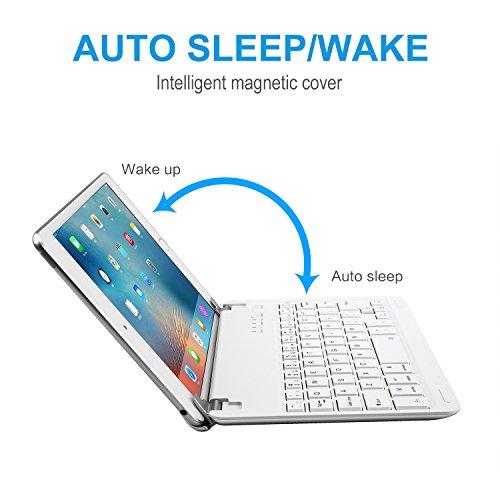 iPad Mini 3/2/1 Keyboard, Raydem Ultra-Thin iPad Mini Wireless Bluetooth Keyboard Folio Cover 130 Degree Multi-Angle Swivel Rotating with Auto Wake/Sleep for Apple iPad Mini 1/2/3 by Raydem (Image #3)