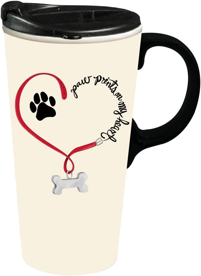 Cypress Home Travel Mug for Animal Lovers - Paw Prints Dog Ceramic Travel Coffee Mug, 17 ounces , Insulated Travel Cup