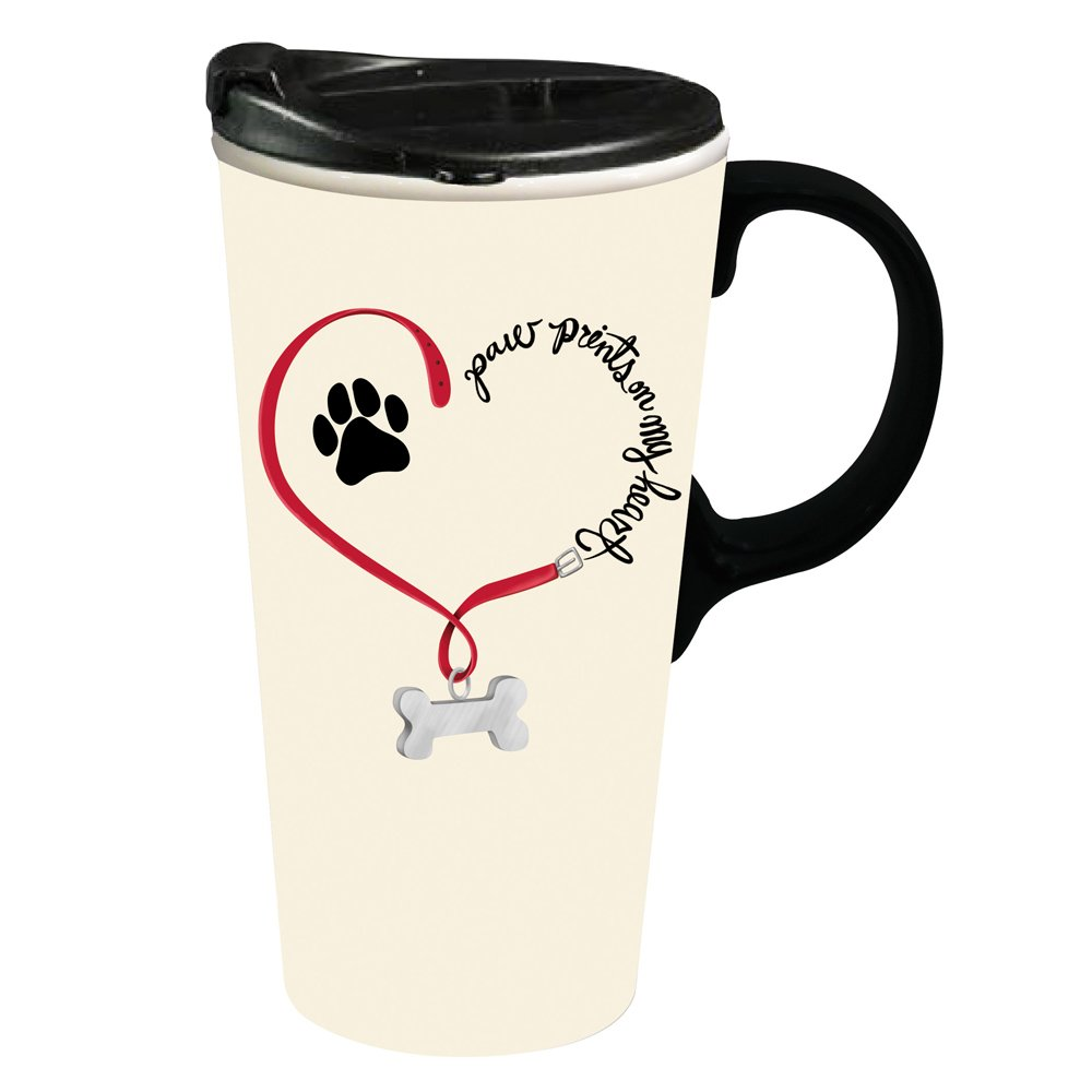 Cypress Home Paw Prints Dog Ceramic Travel Coffee Mug, 17 ounces