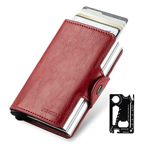 LUNGEAR Credit Card Holder Aluminum Card Wallet with Banknote Storage and Card Knife for Men or Women Exterior Leather Up to Hold 14 Cards (Red)