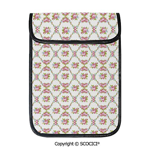SCOCICI Simple Protective Curvy Borders Rose Blooms Retro Feminine Flora Waves Garland Inspired Decorative Pouch Bag Sleeve Case Cover for 12.9 inches Tablets