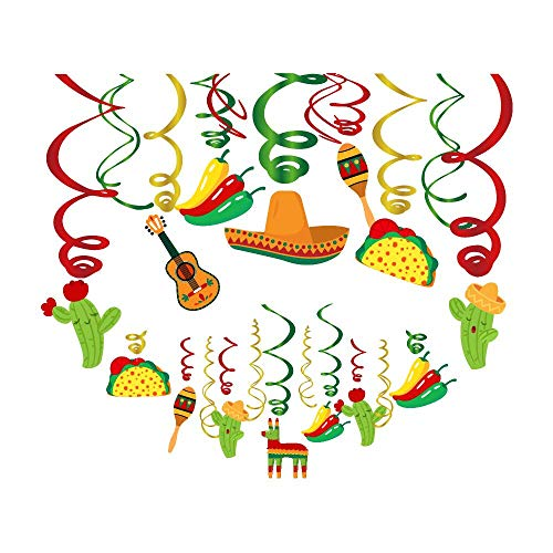 Fiesta Themed Decorations - 30Ct Mexican Fiesta Hanging Swirl Decorations,Mexican