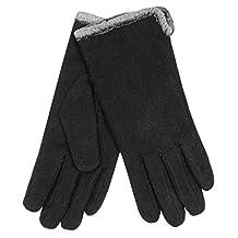 Auclair - Black Wool Blend Chenille Fleece Lined Gloves