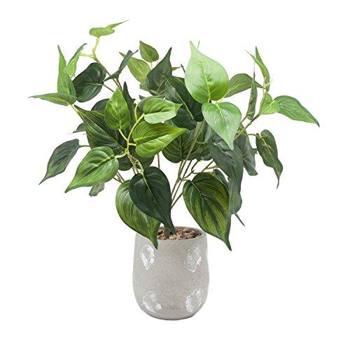 Velener 17'' Artificial Green Leaf Plant in Cement Pot for Desk Top Decor by Velener