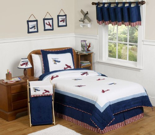 - Sweet Jojo Designs 4-Piece Red, White and Blue Vintage Aviator Airplane Children's Bedding Boys Twin Set
