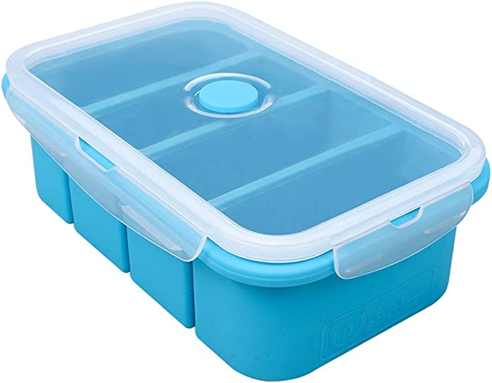 Webake Silicone Freezer Tray with Lid, Food Storage Container, Ice Cube Tray for Soup Sauce Meal Prep, 1 Cup Portion, BPA Free
