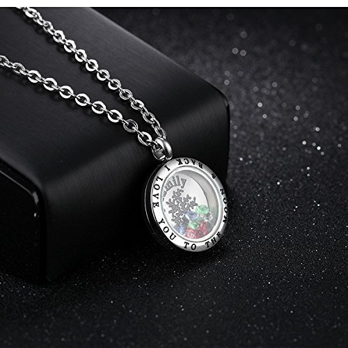 I LOVE YOU TO THE MOON & BACK Stainless Steel Necklace Tree of Life Pendents for women girls