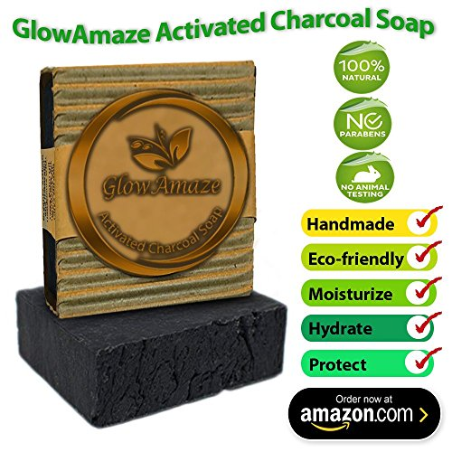 GlowAmaze Activated Charcoal Soap (Black) – Handmade, Natural, Organic Face and Body Wash – Helps Reduce Acne, Blemishes and Breakouts for Clearer, He…