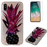 For iphone X Case with Pattern Purple Pineapple,OYIME Glitter Bling Design Ultra Thin Slim Fit Protective Back Cover Soft Silicone Rubber Shell Drop Protection Anti-Scratch Transparent Bumper and Screen Protector