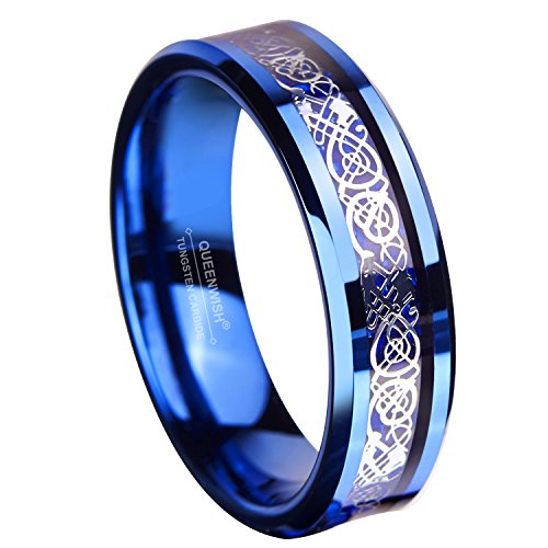 Queenwish 6MM Blue Tungsten Carbide Ring Celtic Dragon Blue Carbon Fibre Inlay Mens Wedding Band Size 10