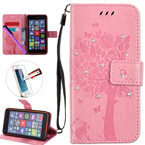 Nokia Lumia 640 Case,Nokia N640 Case,ISADENSER PU Leather Wallet Book Shell 3D Handmade Shine Diamond Embossing Tree Butterfly Flip Cover Case For Microsoft Nokia Lumia 640 - Pink Wish Tree