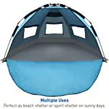 EasyGO Products Shelter - Instant Beach Umbrella Tent Sun Sport Shelter, Light Blue