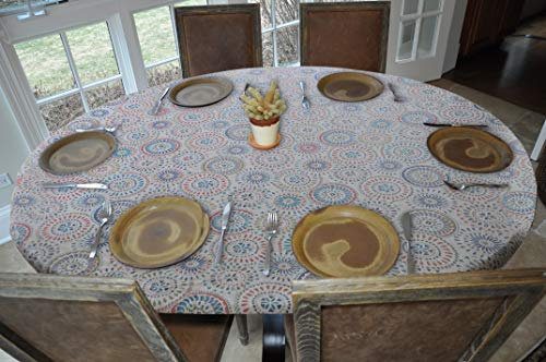 (Elastic Edged Flannel Backed Vinyl Fitted Table Cover - Multi-Color Geometric Pattern - Oblong/Oval  Fits Tables Up to 48