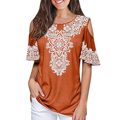 JMETRIE Women's Summer Sexy Off Shoulder Blouse Floral Print Casual T-Shirt Top Orange