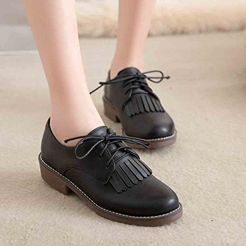 Sfnld Femmes S Glands Classique Lace Up Bout Rond Chaussures À Talon Bas Oxford Noir