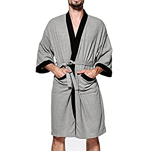 MAGE MALE Men's Waffle Kimono Robe Cotton Lightweight Nightgowns Spa Terry Cloth Bathrobe Sleepwear with Pocket