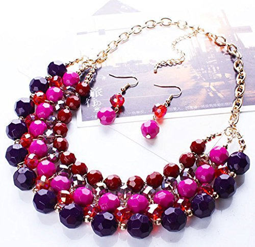 - Yeshion Bohemia Statement Necklace and Earrings Set Multicolored Charm Beads Chokers For Women (Purple)