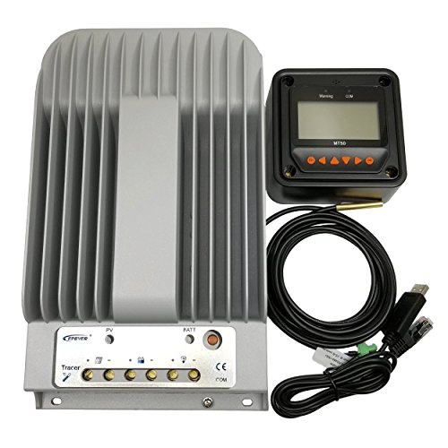 epever 40A MPPT Solar Charge Controller+MT50 Monitor+Temp.Sensor 4215bn Package by ZHC Solar