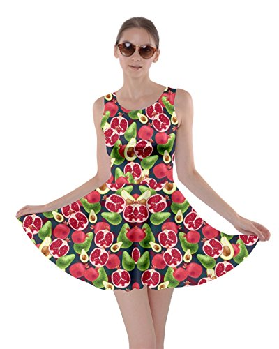 CowCow Womens Avocado Pomegranate Summer Party Skater Dress, Red - L