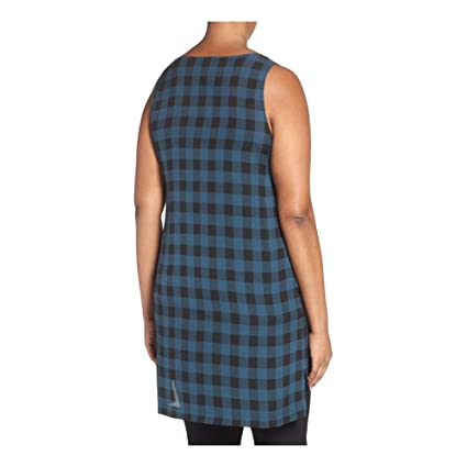 28b976c8a81 Eileen Fisher Fir Buffalo Check Printed Silk Scoop Neck Tunic Plus Size at  Amazon Women's Clothing store:
