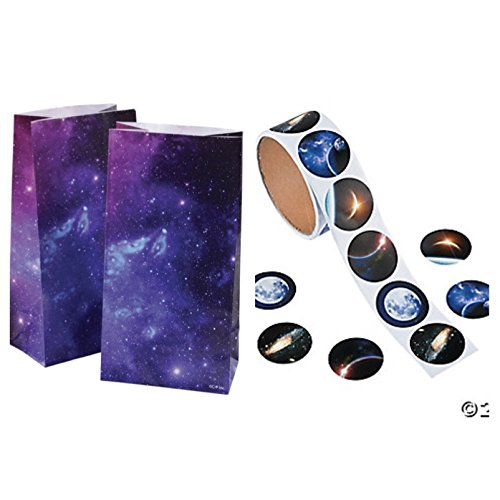 Just4fun 2 Dozen (24) OUTER Space Paper GOODY BAGS with 24 STICKERS - Seals - GALAXY Planets - Science SOLAR SYSTEM Classroom PARTY FAVORS -