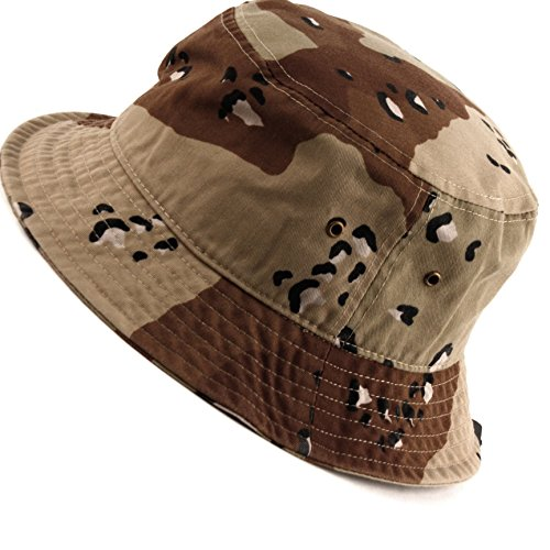 E-Flag Mens 100% Cotton Fishing Hunting Summer Bucket Cap Hat (L/XL, CAMO Khaki)