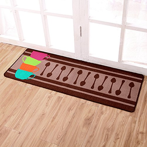 Carvapet 2 Piece Non-Slip Kitchen Mat Rubber Backing Doormat Runner Rug Set, Colorful Cups (19
