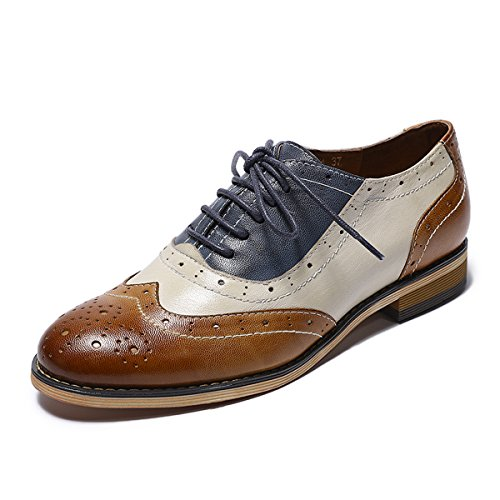 Mona Flying Womens Leather Flat Oxfords Shoes For Women Perforated Lace-up Wingtip Vintage Brogues Shoes,8.5 B(M) US,Brown-white-blue