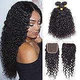 Brazilian Virgin Hair Kinky Curly Hair Bundles with Closure Unprocessed Virgin Brazilian Kinkys Curly Human Hair Bundles with Lace Closure Natural Black(14 16 18+12)