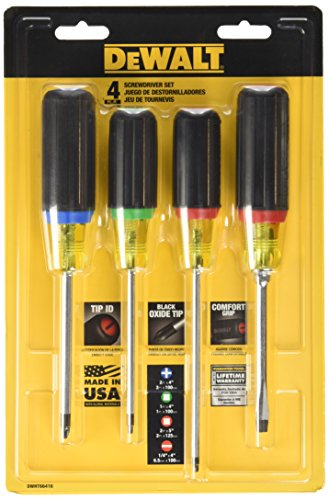 Dewalt DWHT66416 Vinyl Grip Screwdriver Set with Square Drive, 4 (Vinyl Grips)