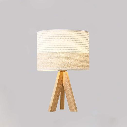 Lámpara de mesa nórdica de madera maciza Casa moderna Cama ...