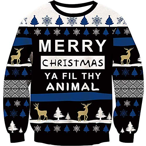 Men Women Ugly Christmas Sweater Holiday Party Xmas Sweater Family Elk Reindeer Blue Snowflake Casual Knitted Striped Black Pullover Christmas Jumper (Christmas Family Guy Sweater)