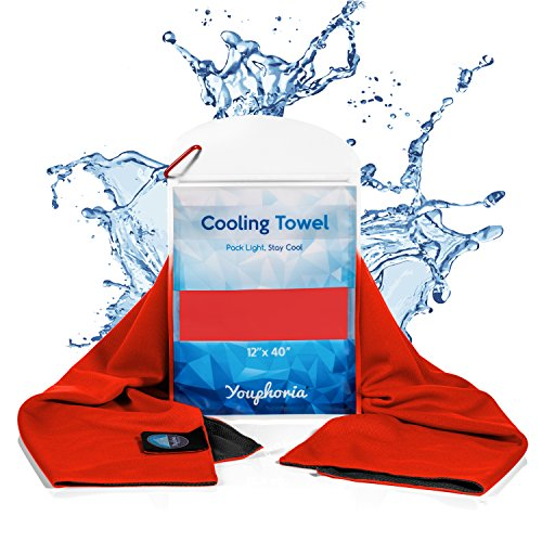 Youphoria Cooling Towel - Perfect Cooling Towels for Neck Wrap or Cooling Bandana - Cool Towel for Hot Weather, Over Heating, Sports, and Fatigue - Waterproof Carry Case Included - 1PK (Red)