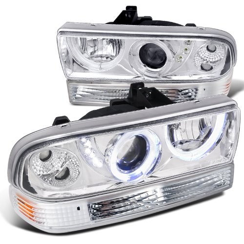 Chevy S10 Blazer Chrome SMD LED Halo Projector Headlights+Bumper Lamps (Chevy Blazer Back Bumper compare prices)
