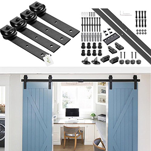 YesHom 10ft Heavy Duty Double Door Sliding Barn Wood Door Hardware Roller Track System Kit Set J Shape Black