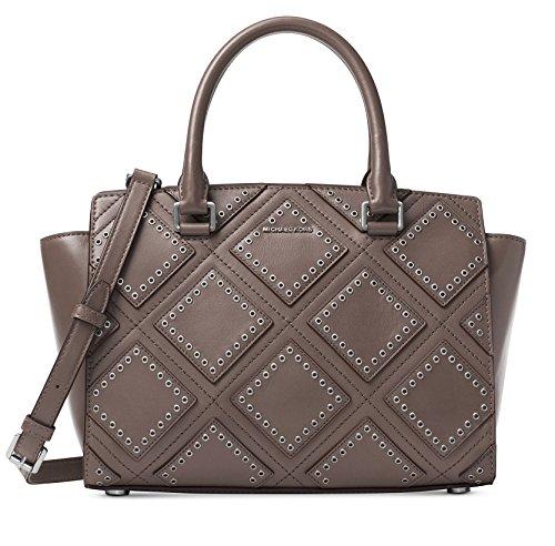 Logo Jacquard Messenger Bags - MICHAEL Michael Kors Womens Selma Leather Grommet Satchel Handbag Gray Medium