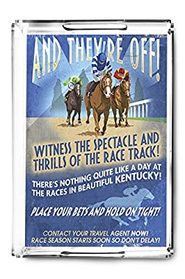 Kentucky - Horse Racing Vintage Sign (Acrylic Serving Tray)