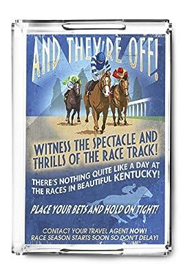 Kentucky - Horse Racing Vintage Sign (Acrylic Serving Tray)