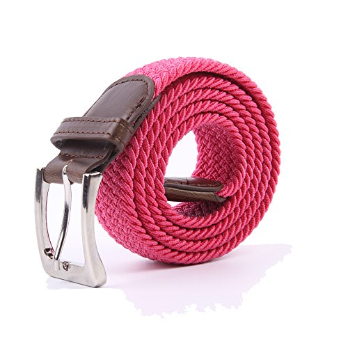 Canvas Elastic Fabric Woven Stretch Multicolored Braided Belts 2041-HotPink-M