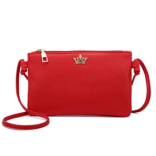 Women Leather Crossbody Bag Pure Color Shoulder Bags Messenger Bag Coin bag by TEEGUI (Image #1)