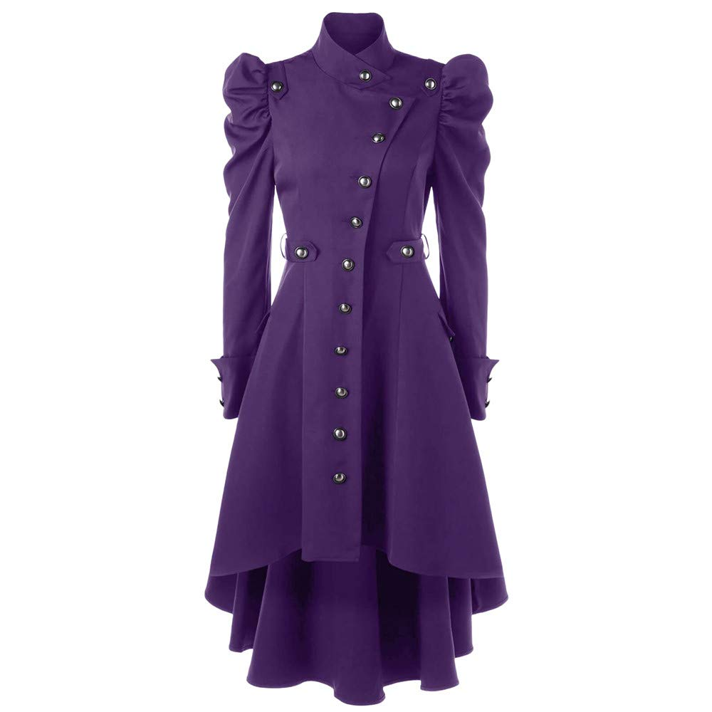 Womens Vintage Steampunk Gothic Western Long Duster Jacket Coat Sunmoot Purple by Sunmoot-Coats