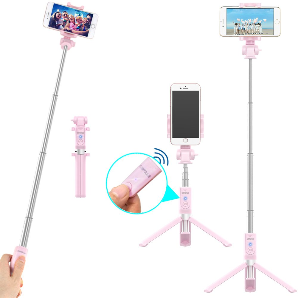 Bluetooth Selfie Stick Tripod with Remote for iPhone 6 6s 7 Plus Galaxy s7 s8 Plus CAIYOULE Extendable Aluminum Monopod and Foldable stand 360 Rotation (Pink) 4335019224