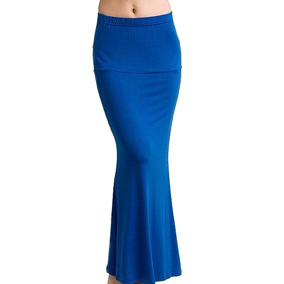 Falda larga TEERFU de tubo, de algodón elástico para mujer Azul ...