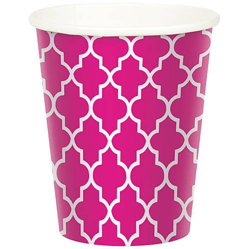 Hot Pink Trellis Chevron Paper Party Cup Pack of 8
