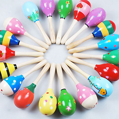 Supershopping 10 Pcs Wooden Maracas Sand Hammer Sound Music Rattle Musical Colorful Toys for Baby Kid Toddlers